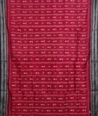 Maroon black handwoven  khandua silk saree