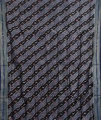 Black and flint gray handwoven  khandua silk saree