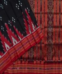Black red handwoven  khandua silk saree