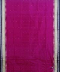 Pink black handwoven bomkai silk saree