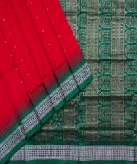 Red green handwoven bomkai silk saree