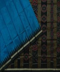 Yale blue black handwoven bomkai silk saree