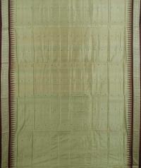 Thunder gray maroon handwoven bomkai silk saree