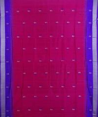 Magenta violet handwoven bomkai silk saree