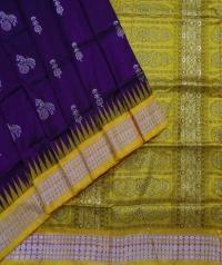Purple yellow handwoven bomkai silk saree