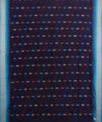 Navy and sky blue handwoven bomkai silk saree