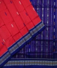Tiger orange blue handwoven bomkai silk saree