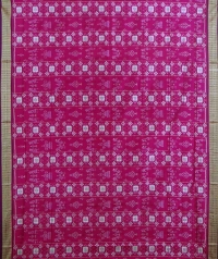Pink and purple handwoven sambalpuri silk saree