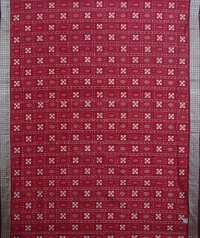 Light and dark maroon handwoven sambalpuri silk saree