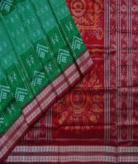 Green maroon handwoven sambalpuri silk saree