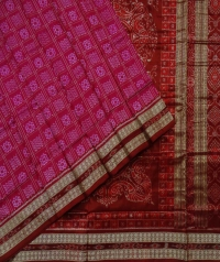 Pink maroon handwoven sambalpuri silk saree