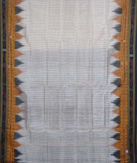 Offwhite black handwoven khandua silk saree