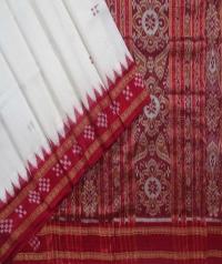 Offwhite red handwoven khandua silk saree