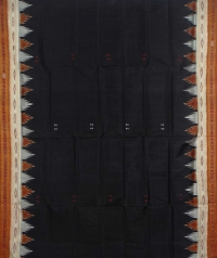 Black tawny brown handwoven khandua silk saree