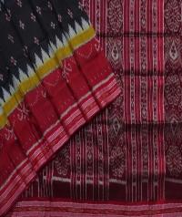 Black maroon handwoven khandua silk saree
