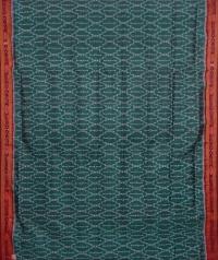 Teal green maroon handwoven khandua silk saree