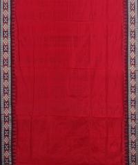 Red maroon handwoven bomkai silk saree