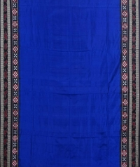 Blue black handwoven bomkai silk saree