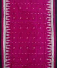 Ruby pink black handwoven bomkai silk saree