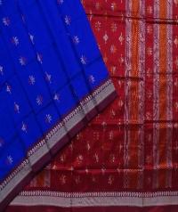 Blue maroon handwoven bomkai silk saree