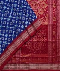 Blue maroon handwoven sambalpuri silk saree