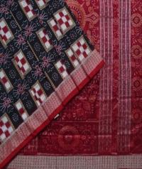 Black maroon handwoven sambalpuri silk saree