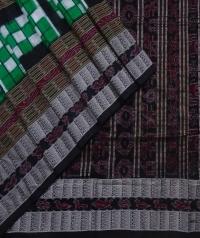 Green black handwoven sambalpuri silk saree