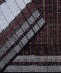 Offwhite black handwoven sambalpuri silk saree