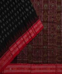 Black red handwoven sambalpuri cotton saree