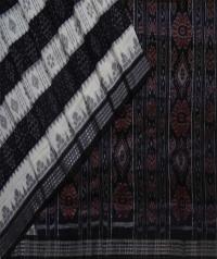 Offwhite black handwoven sambalpuri cotton saree