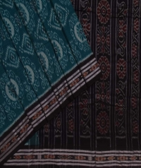 Green black handwoven sambalpuri cotton saree