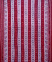 Off white red handwoven sambalpuri cotton saree