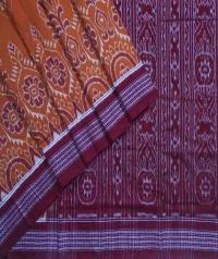 Brown maroon handwoven sambalpuri cotton saree