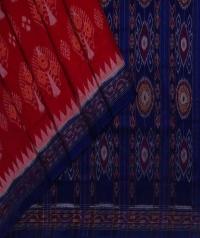 Red blue handwoven sambalpuri cotton saree