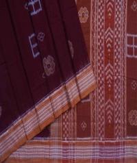 Maroon brown handwoven sambalpuri cotton saree