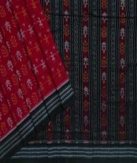 Red black handwoven sambalpuri cotton saree