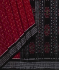 Maroon black handwoven sambalpuri cotton saree