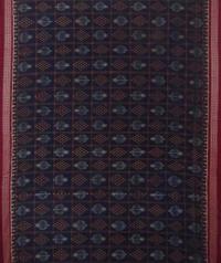 Teal blue black handwoven sambalpuri cotton saree