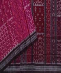 Magenta maroon handwoven sambalpuri cotton saree