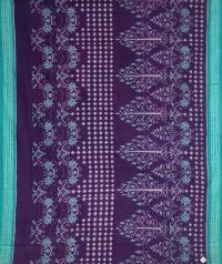 Violet pine green handwoven sambalpuri cotton saree