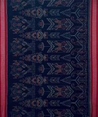 Navy blue red handwoven sambalpuri cotton saree