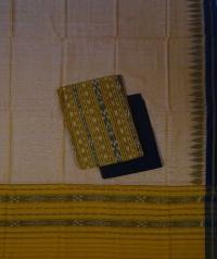 Yellow black handwoven cotton suit piece