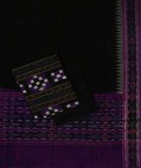 Purple black handwoven cotton suit piece