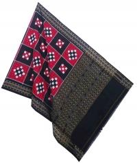 Red black handwoven cotton dupatta