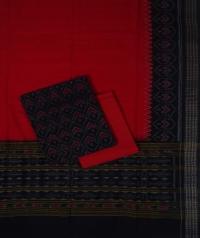 Black red handwoven cotton suit piece