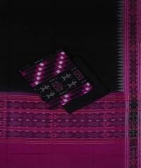 Magenta black handwoven cotton suit piece