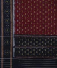 Maroon black handwoven cotton dupatta