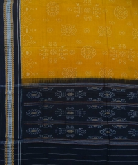 Yellow black handwoven cotton dupatta